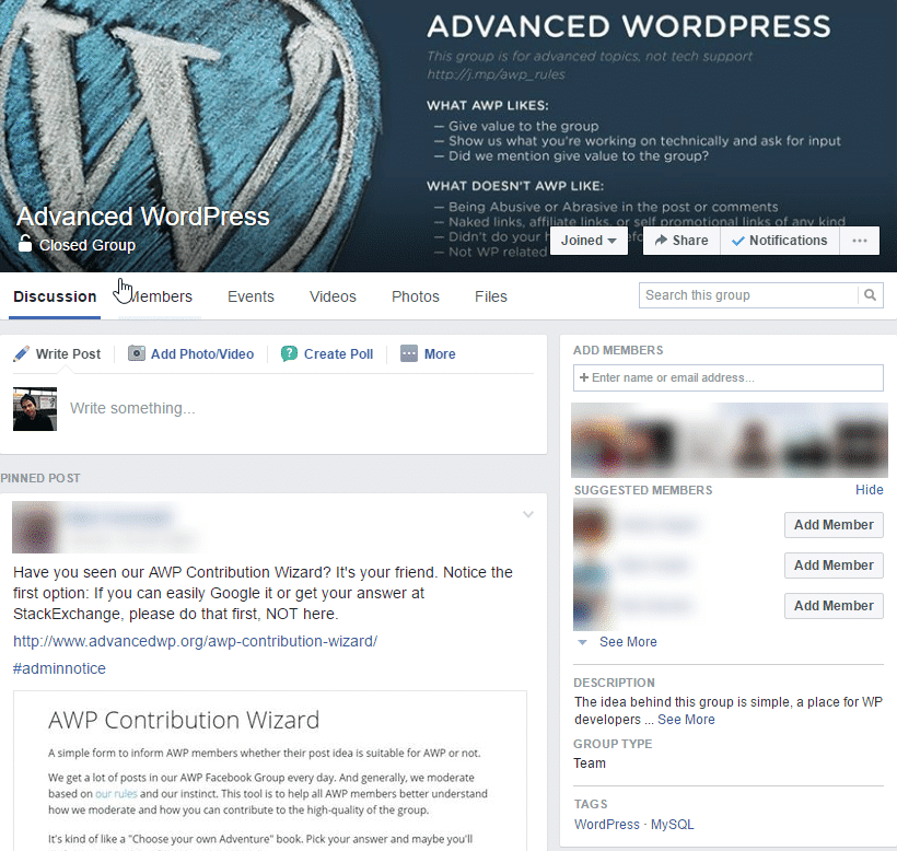 wordpress facebook group