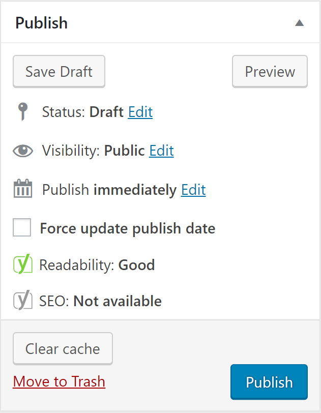 Publish box to modify serp engine data